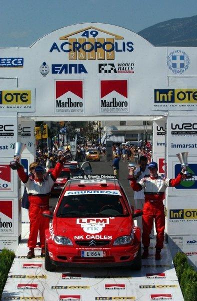 Janne Tuohino (FIN) Citroen Saxo on the podium.Acropolis Rally, Rd7, Greece. Day Three. 16 June 2002.DIGITAL IMAGE