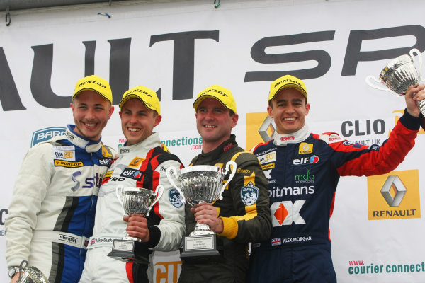 2014 Renault Clio Cup,  Brands Hatch, Kent. 10th - 12th October 2014. Race 2 Podium (l-r) Jordan Stilp (GBR) 20Ten Racing Renault Clio Cup, Mike Bushell (GBR) VitalRacing with Team Pyro Renault Clio Cup, Paul Rivett (GBR) WDE Motorsport Renault Clio Cup, Alex Morgan (GBR) SV Racing Renault Clio Cup. World Copyright: Ebrey / LAT Photographic.