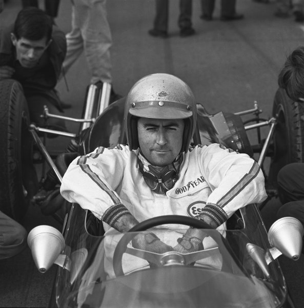 Goodwood, West Sussex, England. 11th April 1966. Jack Brabham, Brabham BT18-Honda,1st position, portrait.  World Copyright: LAT Photographic. Ref: 32897.