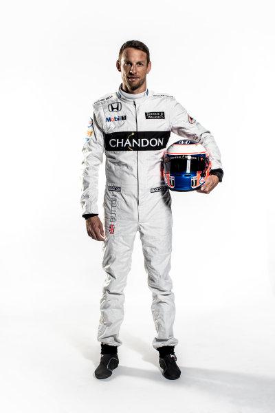 McLaren Honda MP4-31 Reveal. Woking, UK. Thursday 18 February 2016. Jenson Button, McLaren. Photo: McLaren (Copyright Free FOR EDITORIAL USE ONLY) ref: Digital Image Jenson Button Full Length Portrait