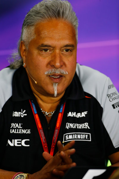 Silverstone, Northamptonshire, UK Friday 08 July 2016. Vijay Mallya, Team Principal and Managing Director, Force India, in the Team Principals Press Conference. World Copyright: Andy Hone/LAT Photographic ref: Digital Image _ONY8099