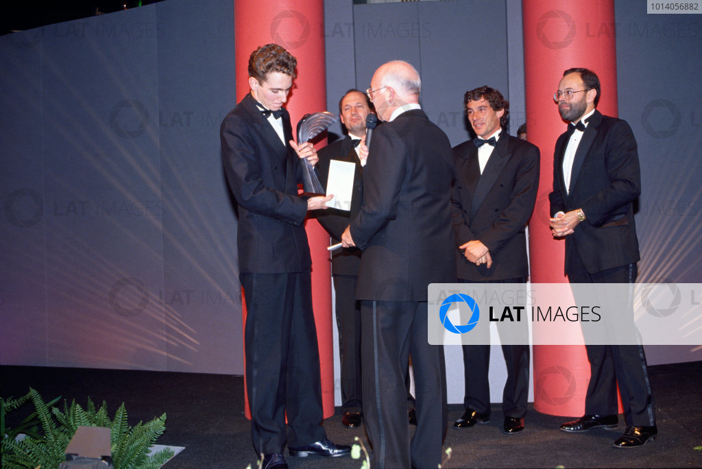 1991 Autosport Awards. Grosvenor House Hotel, Park Lane, London. 8th December 1991. Ayrton Senna presents Oliver Gavin with the Autosport Young Driver of the Year Award as Murray Walker interviews him with Ron Dennis and Peter Foubister, portrait.  World Copyright: LAT Photographic. Ref:  Colour Transparency.