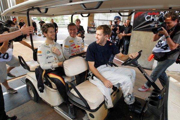Rajamangala Stadium, Bangkok, Thailand 13th - 16th December 2012 Sebastian Vettel takes Romain Grosjean and David C World Copyright: IMP (USAGE FREE FOR EDITORIAL PURPOSES ONLY)