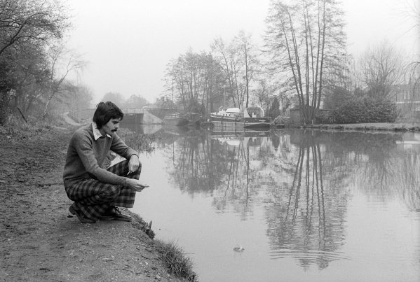 Gordon Murray (RSA) Brabham Designer relaxes by a canal near the Brabham headquarters.