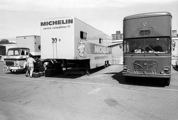 The Michelin service competition F1 truck sits in between the Renault and Ferrari trucks in the paddock.