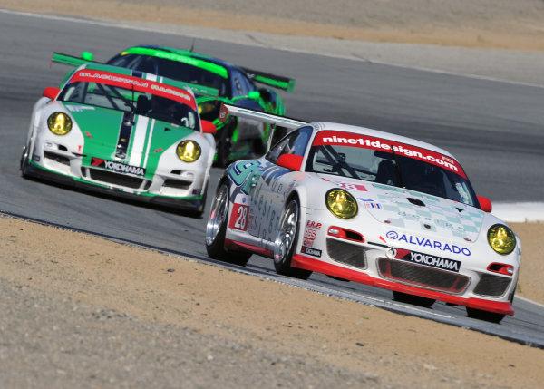 20-22 May, 2010, Monterey, California, USA.#28 911 Design Porsche 911 GT3 Cup, #54 Porsche and #02 Ferrari.©Dan R. Boyd, USA LAT Photographic.