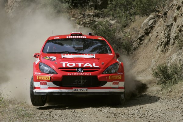 2005 FIA World Rally Champs. Round SixCyprus Rally 12th - 15th May 2005.Marcus Gronholm / Timo Rautiainen (Peugeot 307 WRC), action.World Copyright: McKlein/LAT