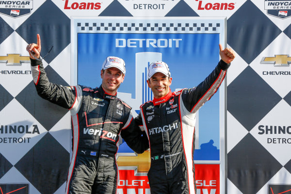 1 June, 2014, Detroit, Michigan, USA Race Winners Will Power and Helio Castroneves ©2014, Michael L. Levitt LAT Photo USA