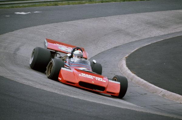 1972 German Grand Prix.  Nurburgring, Germany. 28-30th July 1972.  Derek Bell, Tecno PA123.  Ref: 72GER93. World Copyright: LAT Photographic
