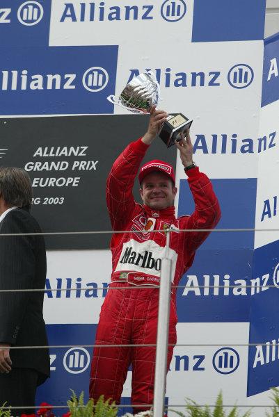 2003 European Grand Prix - Sunday Race,Nurburgring, Germany. 29th June 2003 Rubens Barrichello, Ferrari F2003 GA, 3rd place podium.World Copyright: Steve Etherington/LAT Photographic ref: Digital Image Only