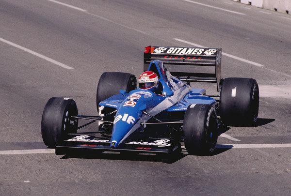 1991 United States Grand Prix.Phoenix, Arizona, USA.8-10 March 1991.Erik Comas (Ligier JS35 Lamborghini).Ref-91 USA 43.World Copyright - LAT Photographic