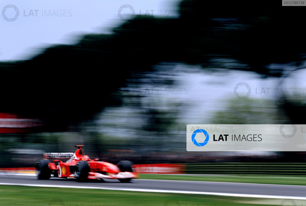 2003 San Marino Grand PrixImola, Italy. 18th - 20th April 2003.Race winner Michael Schumacher, Ferrari F2002, action.World Copyright: LAT Photographicref: 35mm Image A07