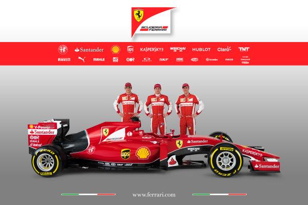 Ferrari SF-15T Reveal 30 January 2015 Esteban Gutierrez, Kimi Raikkonen and Sebastian Vettel with the new Ferrari SF-15T. Photo: Ferrari (Copyright Free FOR EDITORIAL USE ONLY) ref: Digital Image 150001eve
