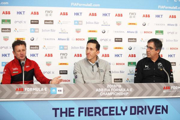 Allan McNish, Team Principal, Audi Sport Abt Schaeffler with James Barclay, Team Director, Panasonic Jaguar Racing and Mark Preston, Team Principal, DS TECHEETAH in the press conference