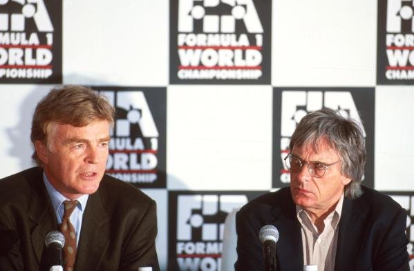 Max Mosley (GBR) President of the FIA (left) and Bernie Ecclestone(GBR) F1 Supremo (right) announce sweeping changes to Formula One following the tragedies of recent weeks.  Formula One World Championship, Monaco GP,  Monte Carlo, 15 May 1994 Catalogue Ref.: 10-071 Sutton Motorsport Images Catalogue