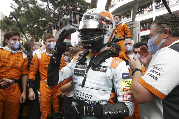 Lando Norris, McLaren, 3rd position, celebrates with his team in Parc Ferme