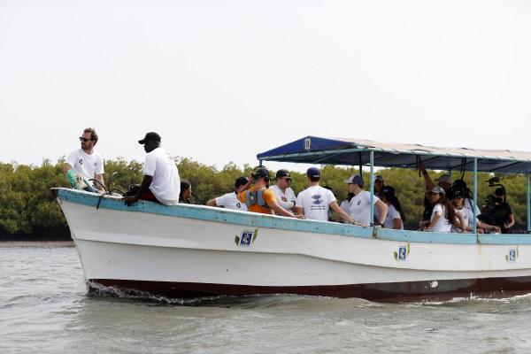 Formula E driver Jean Eric Vergne, on the Oceanium Mangrove Legacy Project Visit boat trip
