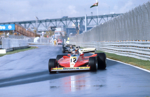 1978 Canadian Grand Prix.Montreal, Quebec, Canada.6-8 October 1978.Gilles Villeneuve (Ferrari 312T3) 1st position for his maiden Grand Prix victory. Ref-78 CAN 10.World Copyright - LAT Photographic