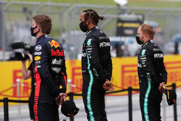 Lewis Hamilton, Mercedes-AMG Petronas F1, Valtteri Bottas, Mercedes-AMG Petronas F1 and Max Verstappen, Red Bull Racing on the podium