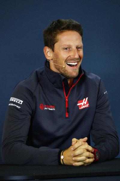 Romain Grosjean, Haas F1 Team in the press conference