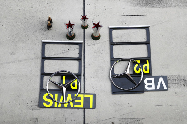 The pit boards and trophies belonging to Lewis Hamilton, Mercedes AMG F1, 1st position, Valtteri Bottas, Mercedes AMG F1, 2nd position, and the Mercedes team
