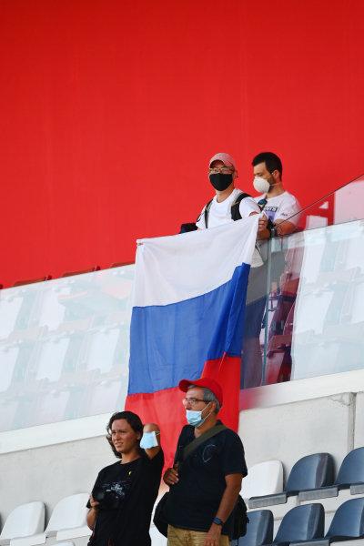 A Russian fan celebrates a win for Nikita Mazepin (RUS, HITECH GRAND PRIX), in the F2 race