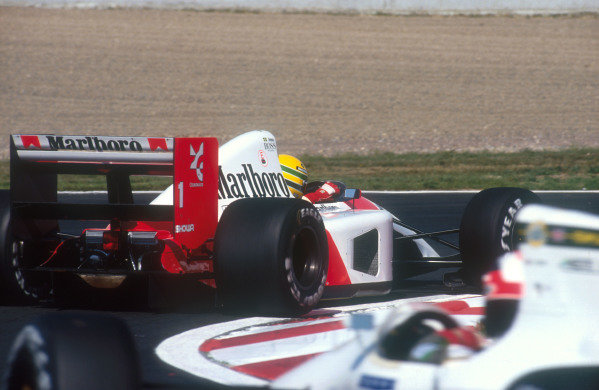 1991 French Grand Prix.Magny-Cours, France.5-7 July 1991.Ayrton Senna (McLaren MP4/6 Honda) 3rd position.Ref-91 FRA 17.World Copyright - LAT Photographic