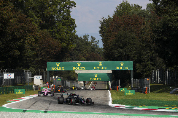 Valtteri Bottas, Mercedes F1 W11 EQ Performance, leads Lance Stroll, Racing Point RP20, and Max Verstappen, Red Bull Racing RB16