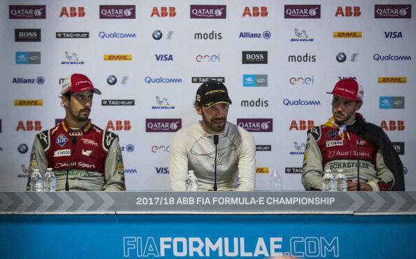 Lucas Di Grassi (BRA), Audi Sport ABT Schaeffler, Audi e-tron FE04, Jean-Eric Vergne (FRA), TECHEETAH, Renault Z.E. 17. And Daniel Abt (GER), Audi Sport ABT Schaeffler, Audi e-tron FE04, in the post race press conference.