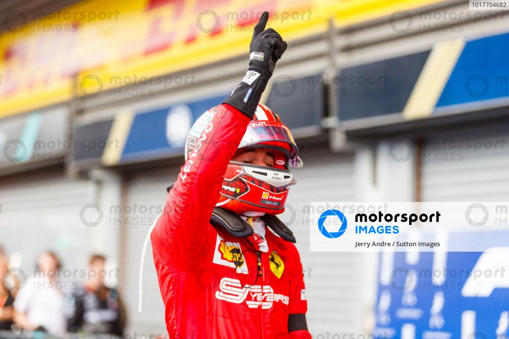 Charles Leclerc, Ferrari, 1st position, celebrates on arrival in Parc Ferme