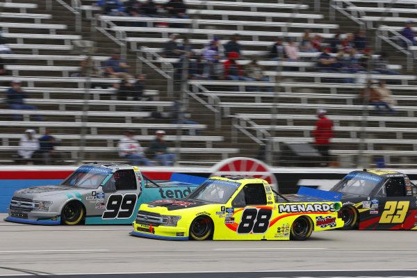 #99: Ben Rhodes, ThorSport Racing, Ford F-150 Tenda Heal, #88: Matt Crafton, ThorSport Racing, Ford F-150 Chi Chi's/Menard's, #23: Brett Moffitt, GMS Racing, Chevrolet Silverado Concrete Supply