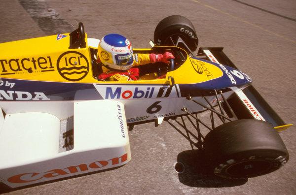 Detroit, Michigan, USA.21-23 June 1985.Keke Rosberg (Williams FW10 Honda) 1st position.Ref-85 USA 07.World Copyright - LAT Photographic