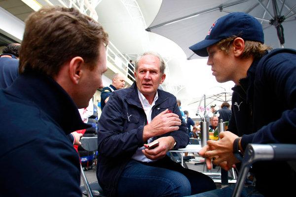 Interlagos, Sao Paulo, Brazil1st November 2008Sebastian Vettel, Toro Rosso STR03 Ferrari, with Christian Horner, Team Principal, Red Bull Racing, and World Copyright: Charles Coates/LAT Photographicref: Digital Image _26Y8688