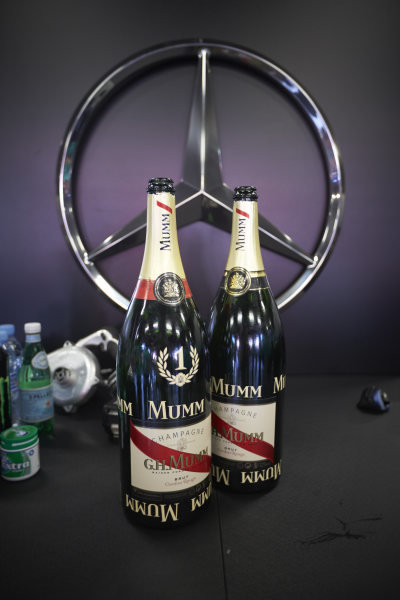 Circuit de Catalunya, Barcelona, Spain. Sunday 10 May 2015. Victory Champagne bottles in the Mercedes garage. World Copyright: Steve Etherington/LAT Photographic. ref: Digital Image SNE10429