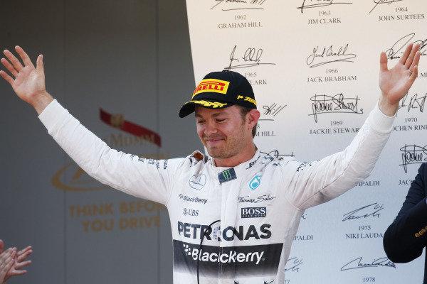 Circuit de Catalunya, Barcelona, Spain. Sunday 10 May 2015. Nico Rosberg, Mercedes AMG, 1st Position, on the podium. World Copyright: Glenn Dunbar/LAT Photographic. ref: Digital Image _W2Q4394