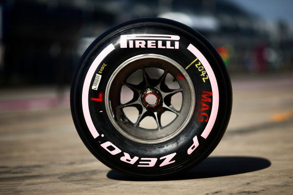 Circuit of the Americas, Austin, Texas, United States of America. Thursday 19 October 2017. Pirelli tyres with pink markings in support of raising awareness of breast cancer. World Copyright: Andy Hone/LAT Images  ref: Digital Image _ONY9084