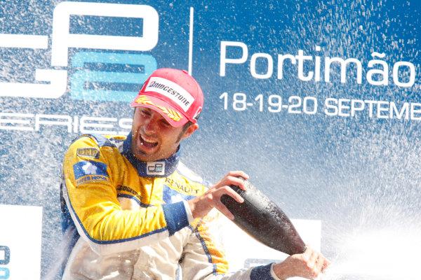 Sunday Race.Luca Filippi (ITA, Super Nova Racing) celebrates his victory on the podium. World Copyright: Glenn Dunbar / GP2 Series Media Service.Ref: _3GD3284 jpg