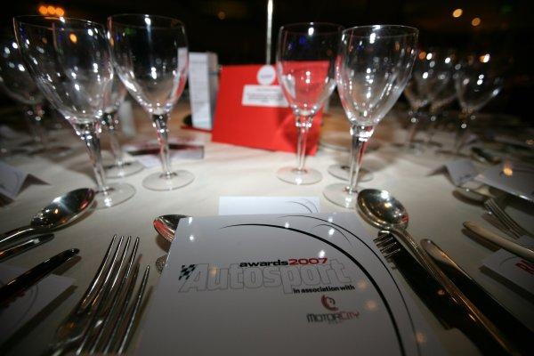 2007 Autosport AwardsGrosvenor House Hotel, Park Lane, London2nd December 2007.Table Setting. Atmosphere.World Copyright: Andrew Ferraro/LAT Photographicref: Digtal Image VY9E9871