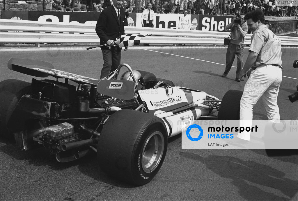 1970 Belgian Grand Prix. Spa-Francorchamps, Belgium. 5th - 7th June 1970. Pedro Rodriguez (B.R.M. P153), 1st position, celebrates with team boss, Tim Parnell, action.  World Copyright: LAT Photographic. Ref: 3125 - 21.