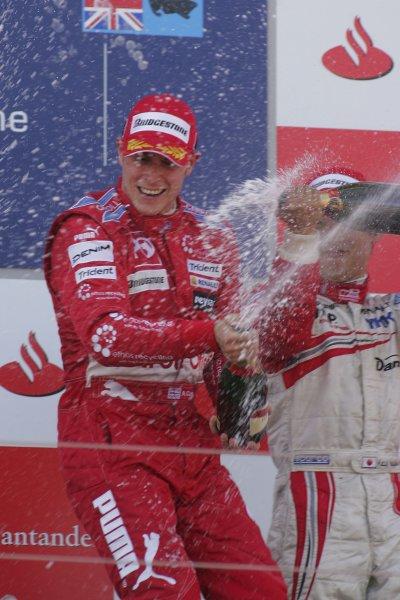 2007 GP2 Series Round 5. Silverstone, England. 8th July 2007. Sunday Race.Adam Carroll (GBR, Petrol Ofisi FMS International) celebrates victory. World Copyright: Alastair Staley/GP2 Series Media Service.ref: Digital Image IMG_2501