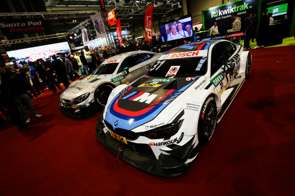 Autosport International Exhibition. National Exhibition Centre, Birmingham, UK. Saturday 13th January 2018. BMW and Mercedes DTM cars on display.World Copyright: James Roberts/JEP/LAT Images Ref: JR2_5440