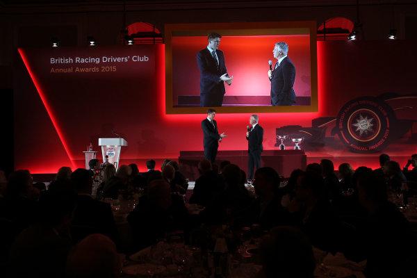 2015 British Racing Drivers Club Awards Grand Connaught Rooms, London Monday 7th December 2015 Derek Warwick on stage. World Copyright: Jakob Ebrey/LAT Photographic ref: Digital Image Warwick-03 (2)