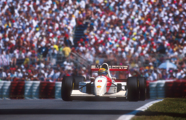 1993 Canadian Grand Prix.Montreal, Quebec, Canada.11-13 June 1993.Ayrton Senna (McLaren MP4/8 Ford) 18th position after his alternator failed.Ref-93 CAN 04.World Copyright - LAT Photographic