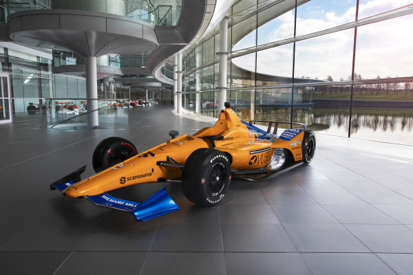 McLaren Indy500 car 2019 on the boulevard at McLaren Technology Centre Image owned by McLaren Racing. Editorial use only. For commercial use enquiries contact brand@mclaren.com