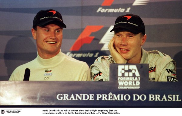 1998 Brazilian Grand Prix.Interlagos, Sao Paulo, Brazil.27-29 March 1998.David Coulthard and Mika Hakkinen (both McLaren Mercedes-Benz) after qualifying on the front row.World Copyright - Steve Etherington/LAT Photographic