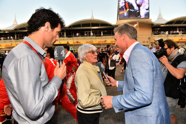 Mark Webber (AUS) on the grid with Bernie Ecclestone (GBR) CEO Formula One Group (FOM) and David Coulthard (GBR) Channel Four TV Commentator at Formula One World Championship, Rd2, Bahrain Grand Prix Race, Bahrain International Circuit, Sakhir, Bahrain, Sunday 3 April 2016.