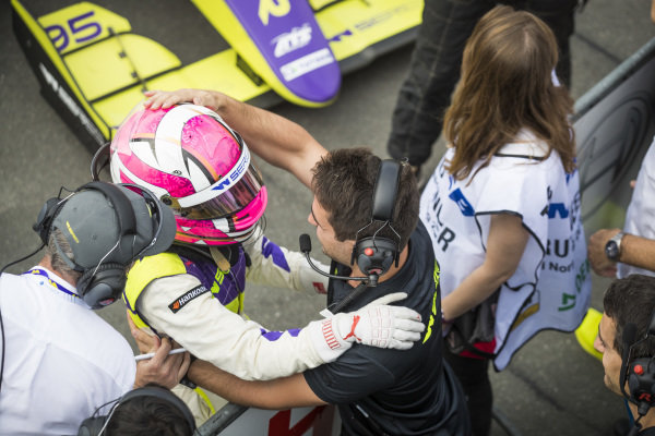 Marta Garcia (ESP) celebrates in parc ferme after winning the race