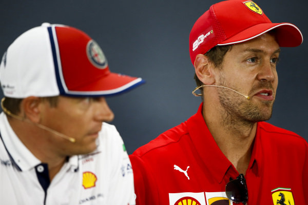 Sebastian Vettel, Ferrari and Kimi Raikkonen, Alfa Romeo Racing in te Press Conference