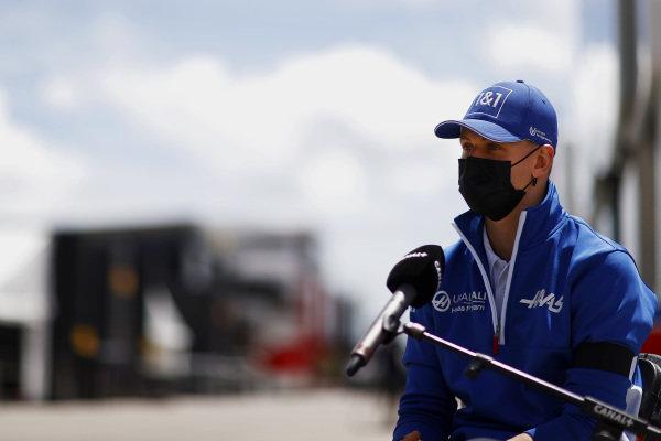 Mick Schumacher, Haas F1, talks to the press