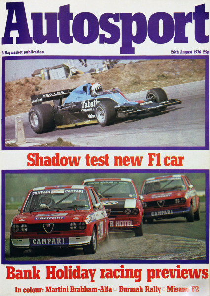 Cover of Autosport magazine, 26th August 1976